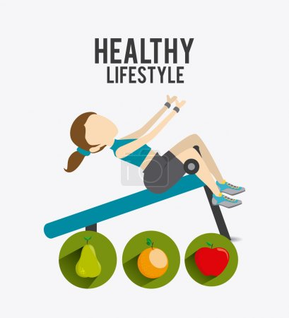 Illustration for Healthy life over white background, vector illustration - Royalty Free Image