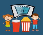 Kids moviegoers design vector illustration eps10 graphic