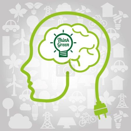 Illustration pour Penser design vert, illustration vectorielle eps10 graphique - image libre de droit
