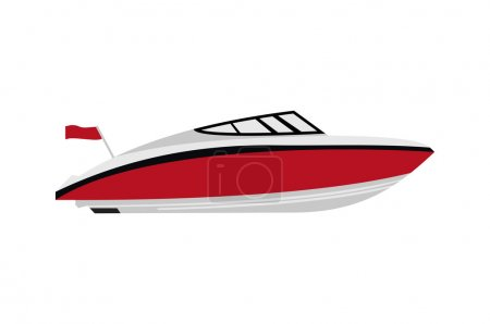 Illustration for Red motorboat on isolated background - Royalty Free Image