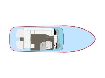 Illustration for Blue motorboat on isolated background - Royalty Free Image
