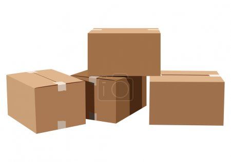 Illustration for Pile of cardboard boxes on a white background - Royalty Free Image