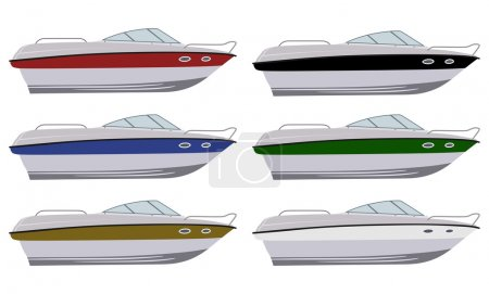 Illustration for Set of boats in different colors - Royalty Free Image