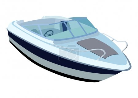 Illustration for Blue river boat on a white background - Royalty Free Image