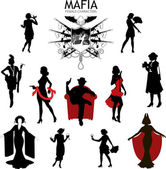 Female characters Silhouettes retro Mafia set