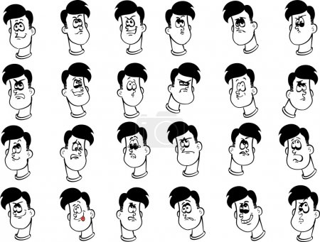 Illustration for Set of 24 cartoon male faces with emotional expressions ink drawing lineart - Royalty Free Image