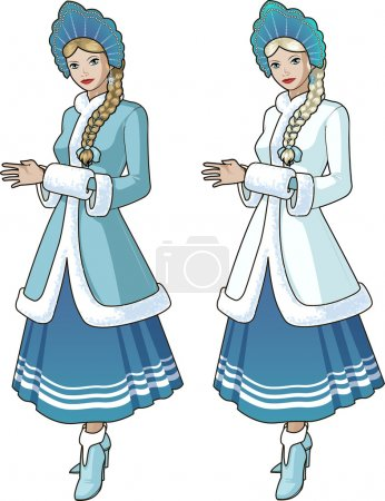 Snow Maiden character with blond braid