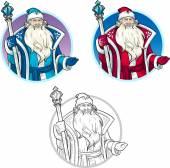 Russian Christmas Character Father Frost lineart and colored drawings set
