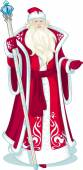 Russian Christmas Character Father Frost in blue coat cartoon