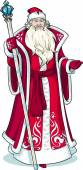 Russian Christmas Character Father Frost in red coat drawing
