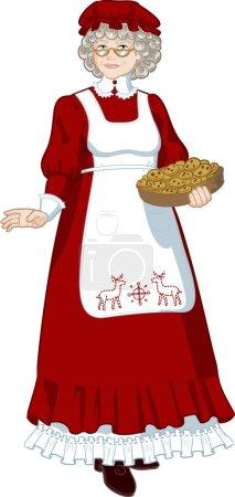 Illustration pour Mme Père Noël Mère Noël avec biscuits faits maison personnage illustration pleine figure - image libre de droit
