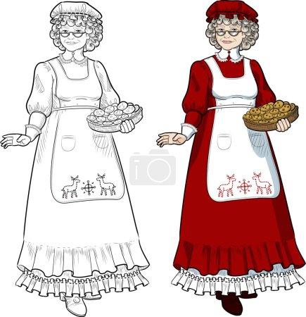 Illustration pour Mme Père Noël Mère Noël avec biscuits faits maison illustration de caractère pleine figure colorée et linéaire - image libre de droit