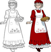 Mrs Santa Claus Mother Christmas with homemade cookies character illustration full figure colored and lineart