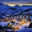 Evening landscape and ski resort in French Alps,Sa...