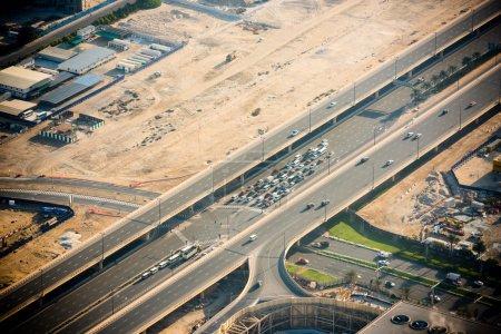 Top view of highway interchange in Dubai