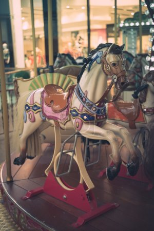 Carousel horse on a carnival merry-go-round