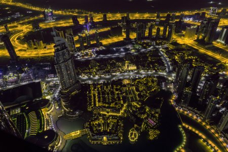 Photo for Dubai downtown night scene with city lights. Top view from above - Royalty Free Image