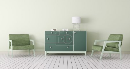 Photo for Interior of living room with chest of drawers, two armchairs 3d render - Royalty Free Image