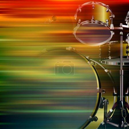Photo pour Abstrait fond flou de mouvement brun avec kit de batterie - image libre de droit