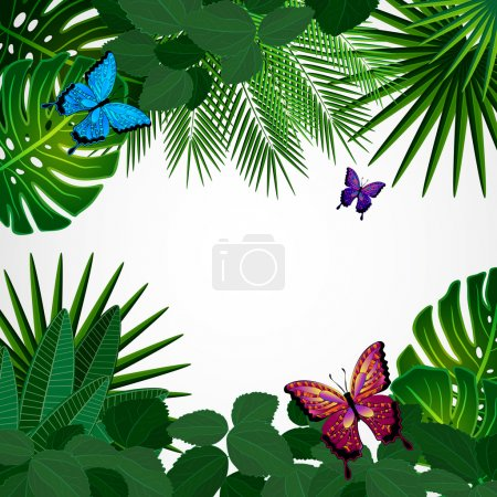 Tropical leaves with butterflies. Floral design background.