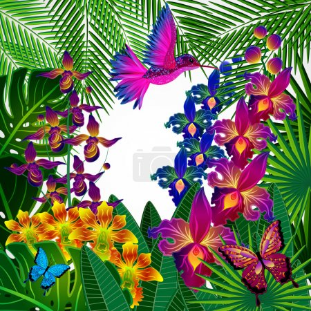 Illustration pour Arrière-plan design floral. Fleurs d'orchidées tropicales, oiseaux et papillons . - image libre de droit