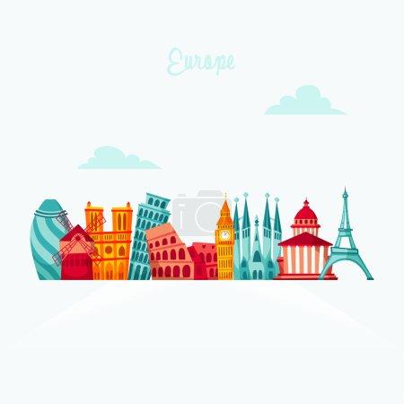 Europe landmark set. Travel flat illustration. Eur...