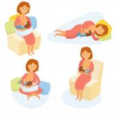 Breastfeeding position Mother feeds baby with breast Comfortable pose for feeding child Mom lactation infant milk Motherhood and childhood Woman breastfeed baby in different poses Cartoon vector