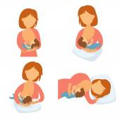 Breastfeeding position Mother feeds baby with breast Comfortable pose for feeding child Mom lactation infant milk Motherhood and childhood Woman breastfeed baby in different poses