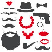Mafia props set Party gangster birthday photo booth props Hat moustache beard lipsbeads gun bow tie tube Vector illustration mafia photo booth props Mafia props