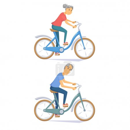 Cyclist senior couple