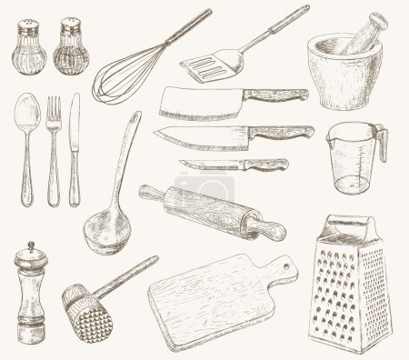 Illustration for Kitchen utensils set. Hand drawn kitchenware and cutlery - Royalty Free Image