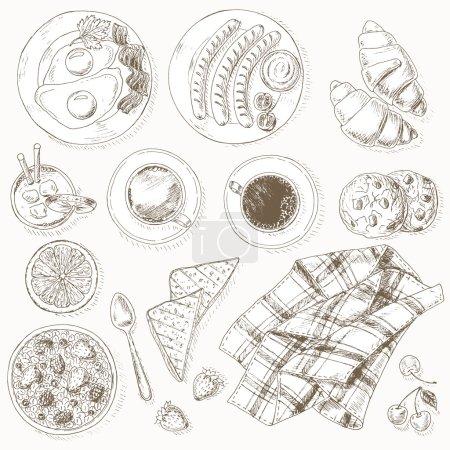 Photo pour Petit déjeuner prêt. Une nourriture saine. Vintage fond vectoriel dessiné à la main . - image libre de droit