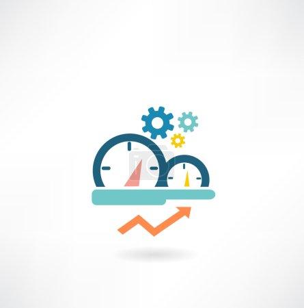 Illustration pour Compteur de vitesse dans l'icône de la voiture - image libre de droit