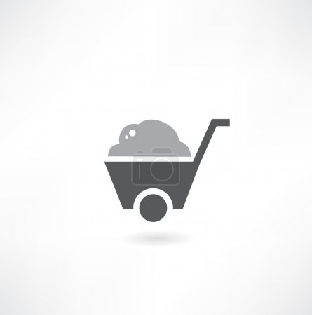 Wheelbarrow on white background