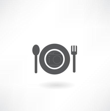 Illustration pour Assiette avec cuillère et icône de fourchette Isolé sur blanc - image libre de droit