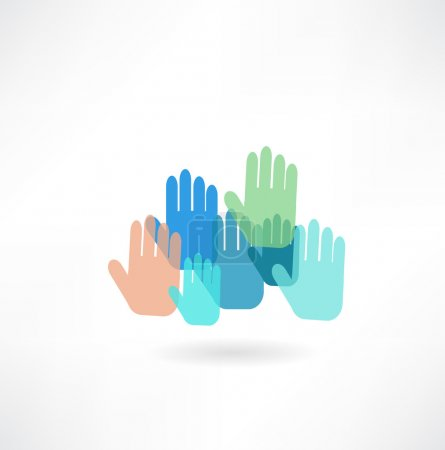 Illustration for Many hands up  icon - Royalty Free Image