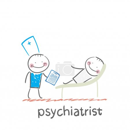 Illustration for Psychiatrist says to the patient, who is lying on the couch - Royalty Free Image