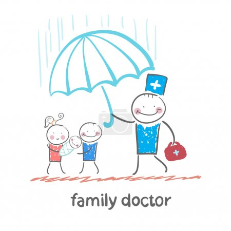 Family doctor holding an umbrella