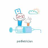 Pediatrician is flying on a syringe