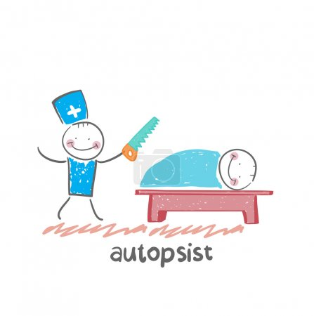 Autopsist with a saw