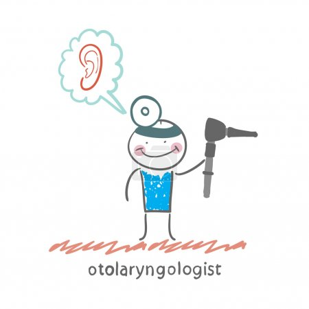 Otolaryngologist holding tool