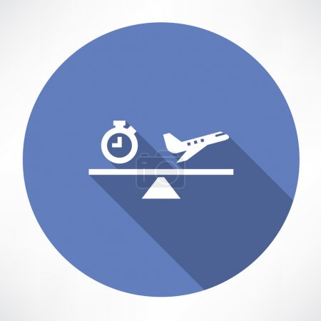Clock and airplane on the scales icon