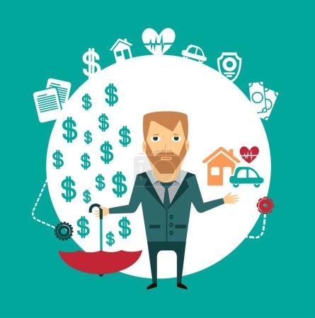 Illustration pour Agent d'assurance tenant une maison, une voiture, un cœur et un parapluie en revanche, où l'argent sypyatsya illustration - image libre de droit