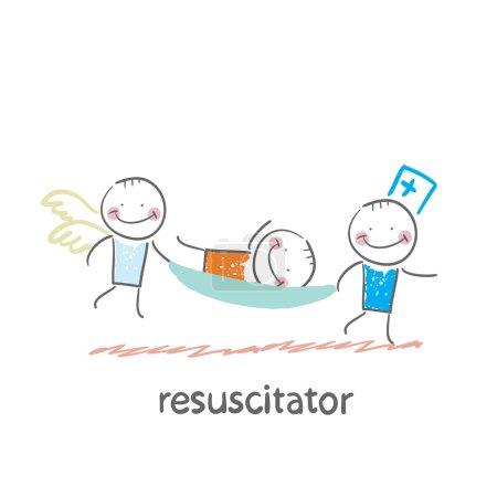 Illustration pour Réanimateur porter sur un patient civière - image libre de droit