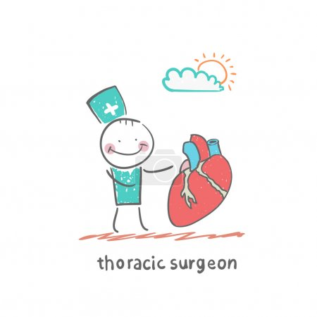 Illustration for Surgeons icon with heart - Royalty Free Image