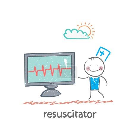Illustration pour Réanimation est un moniteur montre le rythme cardiaque - image libre de droit