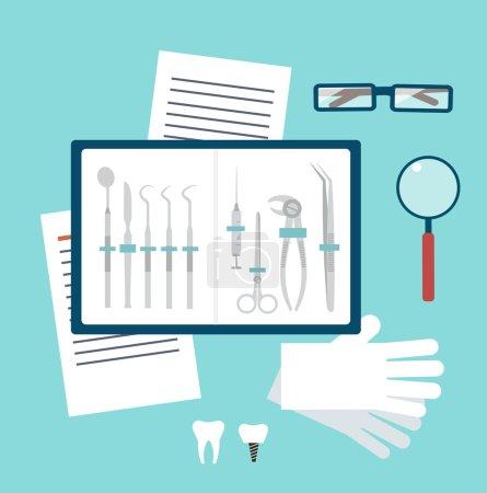 Illustration for Toolset dentist illustration - Royalty Free Image