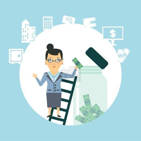 Illustration pour Employé de banque pour garder l'argent dans le bocal en verre - image libre de droit