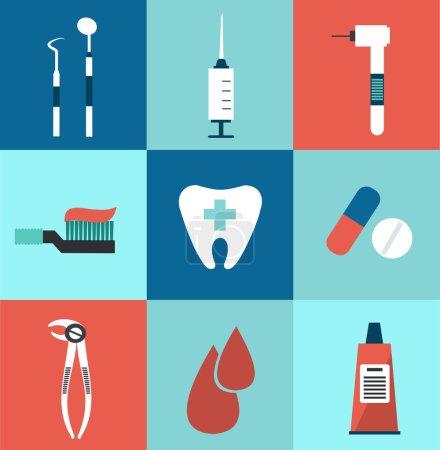 Illustration for Icons dentist illustration - Royalty Free Image