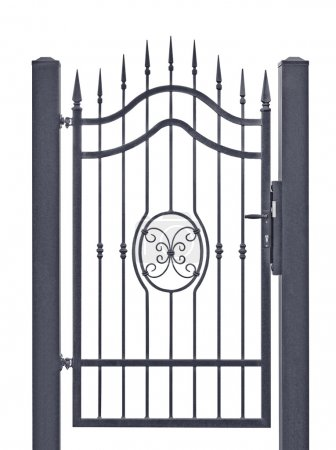 Photo for Forged decorative pedestrian gate, isolated vertical large detailed dark grey silhouette closeup, wrought iron fleur-de-lis lattice - Royalty Free Image